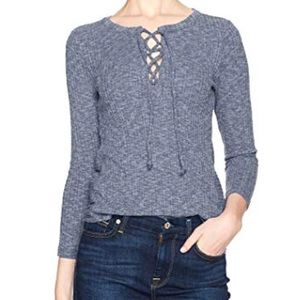 Lucky Brand Lace Up Long Sleeve Sweater Top Small